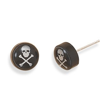 Skull and Crossbones Post Stud Earrings 9.5mm Black and Sterling Silver