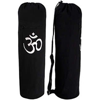 YogaAccessories (TM) Black OM Cotton Yoga Mat Bag – Zippered