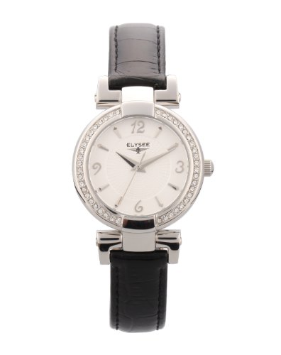 Elysee 33033 - Reloj analógico de cuarzo para mujer con correa de piel, color negro