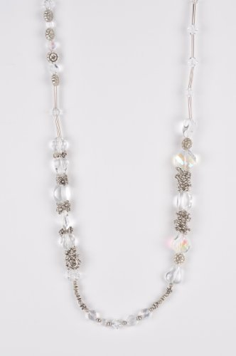 Long Beaded Necklace in Simulated Crystals & Silver Handmade in Africa
