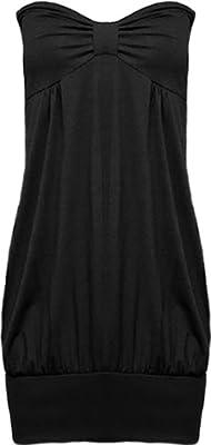 PaperMoon - Damen lange trägerlos bustier Top - 10 Farben - Größe 36-42