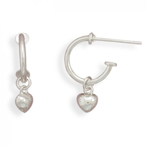 MMA Silver - Rhodium Plated Small Puffed Heart on Hoop Post Earrings