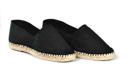 Espadrille-homme-noir-fabrication-artisanale-made-in-pays-basque-france