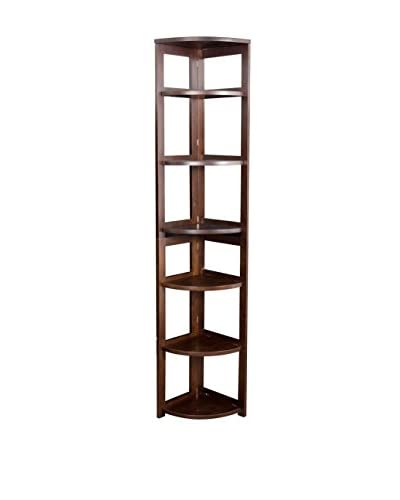 Regency High Corner Folding Bookcase, Mocha Walnut