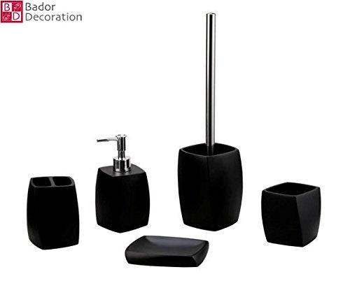 5 teiliges Badezimmer Set, Schwarz