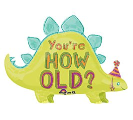 "You'Re How Old? Dinosaur Party Green 36"" Balloon Mylar front-1078601"