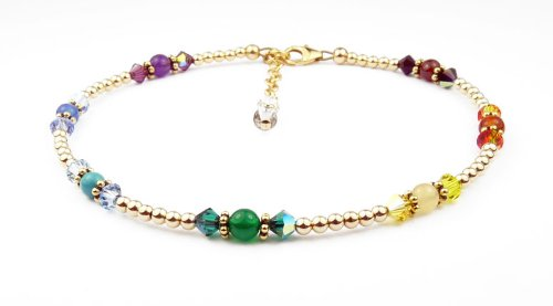 Chakra Jewelry: Chakra Balancing Beaded Anklet - Gold Filled Ankle Bracelets - LARGE - 10.5 In.