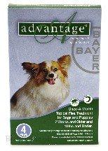 Bayer Advantage 4 Packs Green Flea & Tick Treatment- Dog 0-10 Lbs.