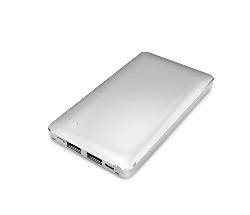 【Amazon.co.jp限定】SMILE WORLD 10,000mAh モバイルバッテリー 2USBポート同時充電可能 リチウムポリマー電池使用 メタルシルバー SWA-1-SL 【フラストレーションフリーパッケージ(FFP)】