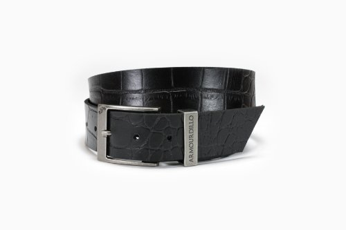 Armourdillo Croc Leather Belt (Black, X-Large)