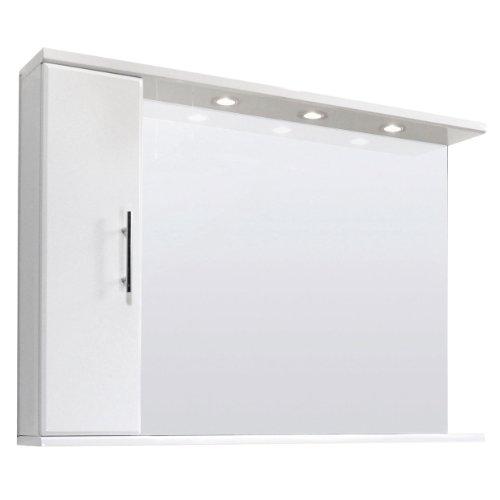 Perfect Manila Gloss White mm Bathroom Mirror and Cabinet