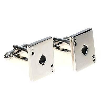 MFYS Men's Jewelry Steel Poker A Novelty Cufflinks