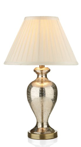 Antique brass mirror style table lamp with Ivory Shade - Houseoflights