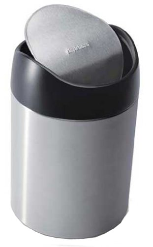 simplehuman Countertop Trash Can, Brushed Stainless Steel, 1.5 L / 0.40 Gal (Desktop Trash Can compare prices)