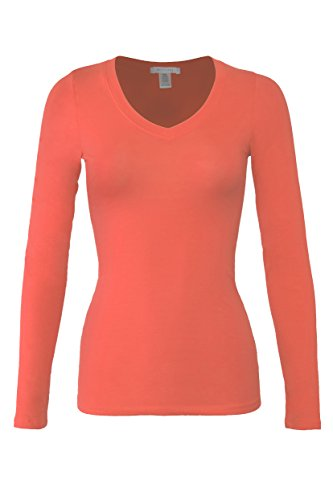 bozzolo-womens-rt1201-basic-v-neck-long-sleeve-t-shirt-top-papaya-s
