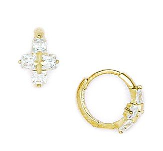 14ct Yellow Gold CZ Small Cross Hinged Earrings - Measures 11x12mm