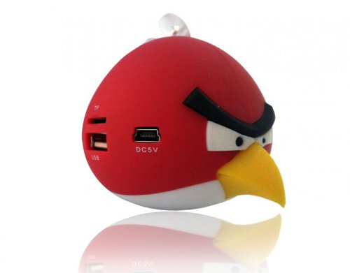 Portable Angry Bird Style Mini Speaker with FM Radio for iPhone, iPod, iPad, Laptops, Mobile Phones and MP3 Players (Red)