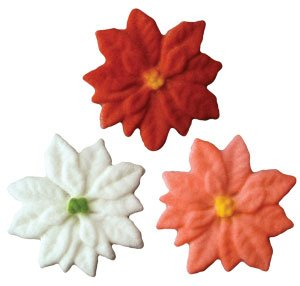 Christmas Poinsettia Sugar Assortment Cake/Cupcake Decorations 12 pack