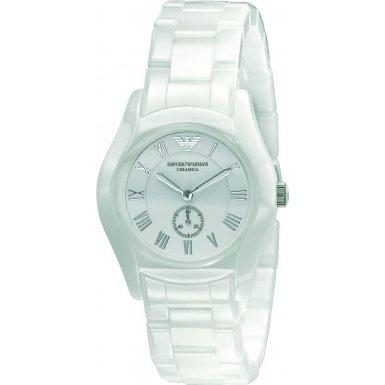Emporio Armani AR1405 Ladies White Ceramic Round White Dial Watch