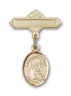 Gold Filled Baby Badge with St. Apollonia Charm and Polished Badge Pin St. Apollonia is the Patron Saint of Dental Diseases