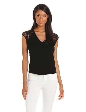 Only Hearts Women's Summer Lace Drop Shoulder Tee, Black, Medium