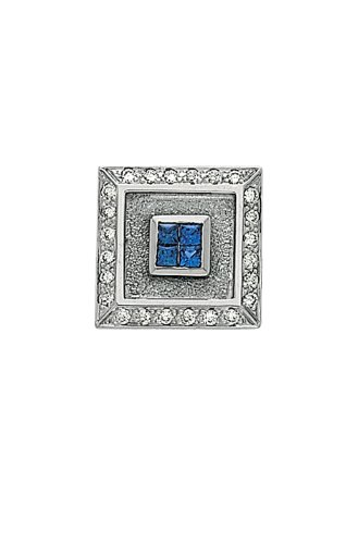 14K White Gold Sapphire Tie Tac With .12 ct. Diamonds-86296