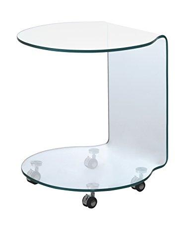 Tomasucci Tavolino con Ruote Move, Vetro, Trasparente, 50 x 50 x 50 cm