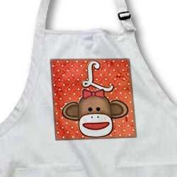 apr_102815 Dooni Designs Monogram Initial Designs - Cute Sock Monkey Girl Initial Letter L - Aprons