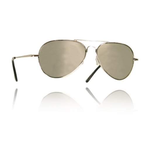 UB Spring Hinged Silver Frame & Mirrored Lens Aviator Sunglasses