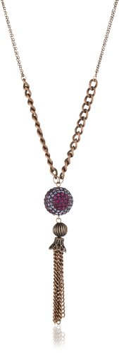 Alexa Starr Burnished Copper Tassel with a Rhinestone Fireball Necklace