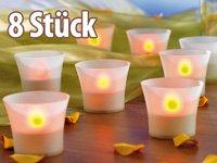 8er LED-Teelichte inklusive eleganten Windgläsern