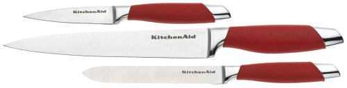 Kitchenaid 3-Piece Red Silicone Knife Set