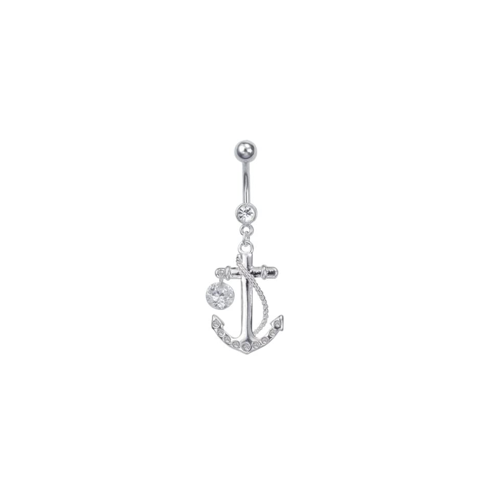 Stainless Steel Dangling Jeweled Anchor Belly Ring With Single Stone Dangle (CLEAR STONES)