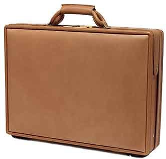 "Hartmann Belting Leather 5"" Legend Deluxe Attache ""Commute-tache"" Briefcase with Fan File Natural 5810"