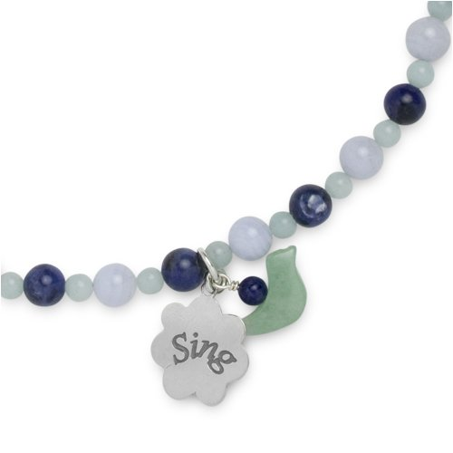 Amazonite Blue Lace Agate Sodalite Sedona Sky Beaded Necklace with Sterling Silver Sing Charm