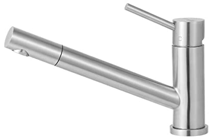 Alfi AB2025-PSS Solid Stainless Steel Single Hole Pull-Out Kitchen Faucet, Polished Finish