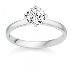 0.28 Carat G/VS2 Round Brilliant Certified Diamond Solitaire Engagement Ring in 18k White Gold