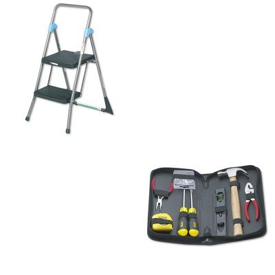 Kitbos92680Csc11829Ggb - Value Kit - Cosco Commercial 2-Step Folding Stool (Csc11829Ggb) And Stanley General Repair Tool Kit In Water-Resistant Black Zippered Case (Bos92680) back-1001644