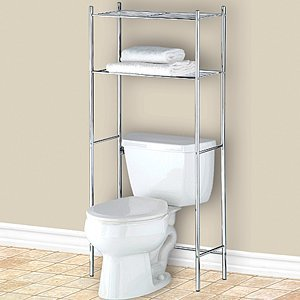 Chrome over the toilet space saver shelf small compact 54 h - Small bathroom space savers image ...