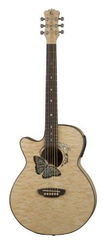 Luna Guitars Folk Series Fau Btfly Lefty Left Handed Fauna Butterfly Acoustic/Electric Guitar