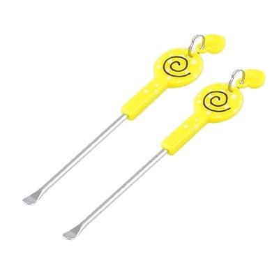 Yellow Lollipop Pattern Earpick Earwax Ear Wax Remover Ears Care Tool 2 Pcs