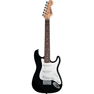 mini fender black guitar