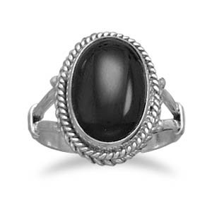 Sterling Silver Oval Black Onyx Rope Edge Ring / Size 6