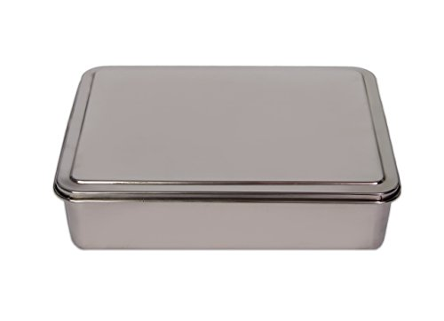 YBM HOME Stainless Steel Covered Cake Pan, Silver (Small-2401) (Stainless Steel Square Pan compare prices)