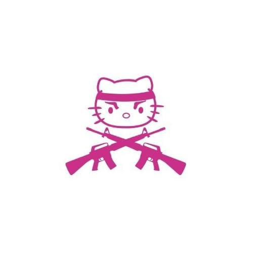 Hello Kitty Gun Machine Gun CUSTOM Sticker Vinyl Decals Die Cut Logo