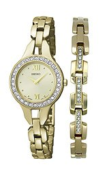 Seiko Stainless Steel Set Gold-Tone Dial Women's Watch #SUJG68