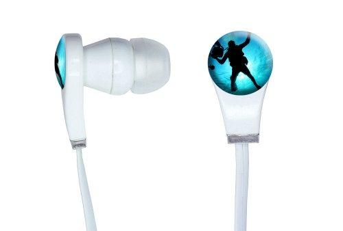 Scuba Diver - Diving Underwater Novelty In-Ear Earbud White Headphones