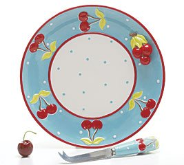 Buy Retro 50′s Cherry Design Serving Plate With Decorative Knife Kitchen Decor
