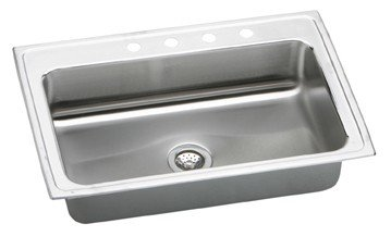 Elkay LRS33224 Gourmet Lustertone 4-Hole 33-Inch x 22-Inch Single Basin Top-Mount Stainless Steel Kitchen Sink