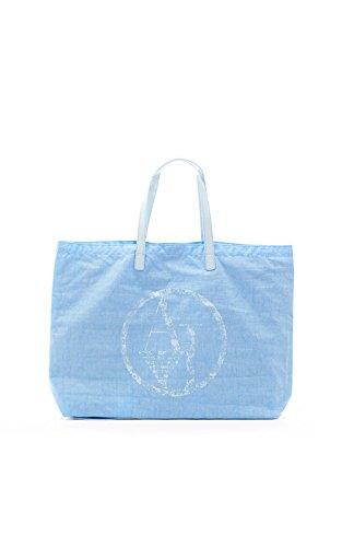 ARMANI JEANS NYLON SHOPPING BAG C522XU4-33 AZZURRO - LIGHT BLUE
